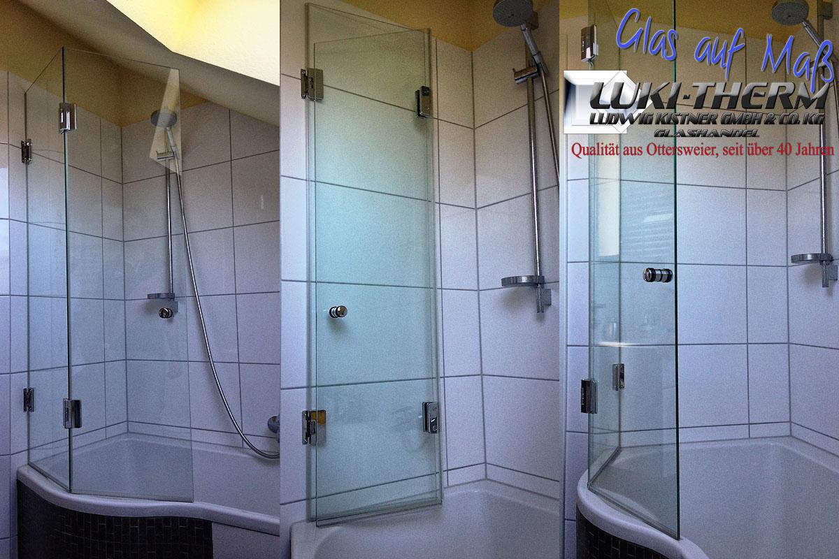 Glasspritzschutz aufgesetzt auf Badewanne