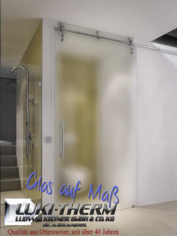 Satinierte Glasschiebetüre in Übergröße